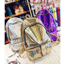 Shiny Hologram Backpack Women Daily Shoulder Bag Campus Bookbag Holography Style