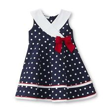 Infant Toddler Girl School Party Birthday Polka Dot Nautical Dress Size 12M-3T