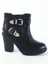 LADIES WOMENS BLACK LEATHER/FAUX ELASTICATED CHUNKY HEEL ANKLE SHOES BOOTS SIZE6