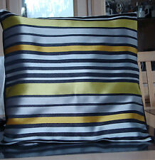 SILVER / BLACK AND LIME GREEN STRIPES DESIGN CUSHION COVER