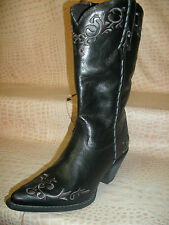 New Womens Cowgirl Leather Ladies Fashion Stitched Western Cowboy Black Boots