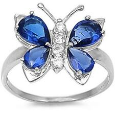 Butterfly Ring Solid 925 Sterling Silver 2CT Sapphire White Topaz Russian CZ