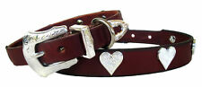 Dog Collar Brown Leather Designer Handcrafted with Silver Hearts+Buckle Set