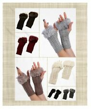 Women's Fur Trim Cable Knit Winter Fingerless Gloves Arm Warmers