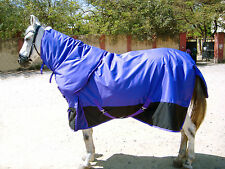 HEAVYWEIGHT 600 DENIER 350G FILL TURNOUT HORSE RUG , PURPLE/ BLACK WITH NECK !!!