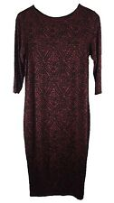 RIVER ISLAND Midi Dress - Womens Size UK 8 Black Dark Red Bodycon Evening Dress