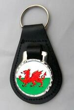 WELSH DRAGON LEATHER KEY FOB Keyring Gift Choice of Colours WALES NEW