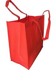 Set of 15- Extra Large Red Color Grocery Shopping Reusable Non Woven Tote Bags
