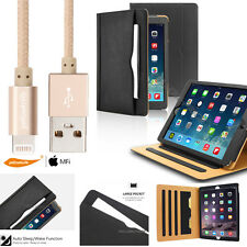 Braided Nylon Zinc USB Charging Cable Luxury Leather Stand Case iPad Mini 1 2 3