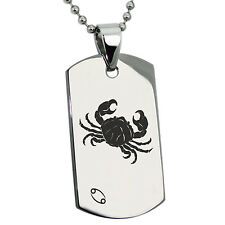 Stainless Steel Astrology Cancer Zodiac Sign Mens Dog Tag