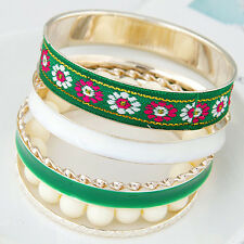 New Fashion Ladies Gold Plated Multilayer Beads Charm Wristband Bangle Bracelet