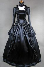 Black Long Sleeve Satin Lace Classic Gothic Lolita Dress #400 Costume Cosplay