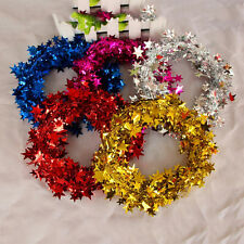 Christmas Decoration 7.5 Metre Wire Tinsel Garland With Mini Stars Ribbon Color