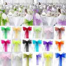 Romantic Wedding Party Banquet Decor 10/50/100PCS Organza Chair Cover Sash Bow