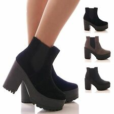 LADIES WOMENS CHELSEA ANKLE BOOTS CHUNKY PLATFORM BLOCK HEEL WINTER SHOES SIZE
