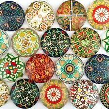 Round Photo Glass Cabochon Mixed Pattern Cameo Jewelry Flatback 10-16mm 50pcs