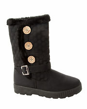 WOMENS BLACK 3 BUTTON FUR LINED MID CALF THICK SOLE WINTER BOOTS LADIES SIZE