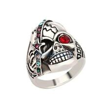 Male Fashion Jewelry Individual Punk Skull Ring Retro Silver Crystal Mens Ring