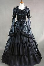 Black Satin Removable Sleeves Lace Bow Elegant Lolita Dress #417 Costume Cosplay