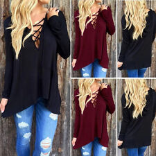Women's Long Sleeve Lace Up Deep V-neck Tops Blouse Cardigan Tee T-shirt GN