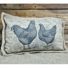 Rustic Country Hessian Chicken Cushion with Pad Vintage Shabby Chic