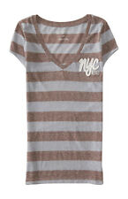 aeropostale womens striped nyc v-neck graphic t shirt timber heather