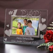 Personalized  Fathers Day Picture Frame #1 Dad Glass  Photo Frame Engraved Frame