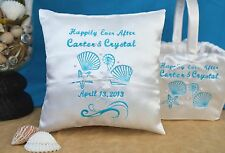Personalized 4 Color Happily Ever After Beach Seashell Ring Pillow Flower Basket