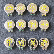 2016 New Yellow Crystal Zodiac Golf Ball Marker w Magnetic Golf Hat Clip