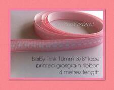 "4 metres Baby Pink 10mm 3/8"" Lace print grosgrain ribbon: DIY hair clips, craft"