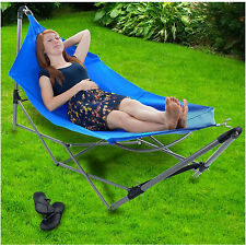 Hammocks And Stands Portable Folding Beach Camping Frame Lounge Travel Bed Pool