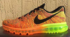 Mens Nike FlyKnit Full Air Max Running Shoes Size 10.5 or 11 Black/Orange/Volt