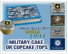Military Edible Cake topper picture sugar navy army marine corps air force paper
