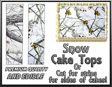 Snow CAMOUFLAGE CAKE topper Edible sugar frosting icing paper strips paper camo