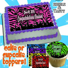 Zebra print Graduation Cake topper or cupcakes edible decal picture transfer