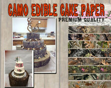 CAMOUFLAGE CAKE topper Edible image FROSTING SHEET icing paper strips wraps camo