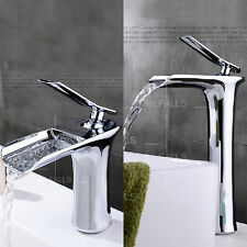 Bathroom Waterfall Basin Sink Faucet Tap Single Lever Brass Chrome Finish New