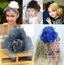 Girl party Mini Feather Rose Top Hat Cap Lace fascinator Hair Clip Hair hairpin