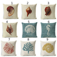 Sea Animal Conch Cushion Covers Seahorse Shell Cotton Linen Throw Pillow Case