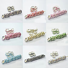 Lot 50/100Pc 8mm Silver Plated Czech Crystal Spacer Rondelle Bead Charm Finding