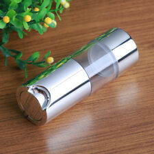 Empty Airless Bottle Cosmetic Plastic Pump Container Travel Silver 15 30 50ml