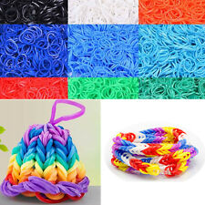 600Pcs Colorful Refill Rubber Bands For Loom Bands Bracelet Weaving Tool New UK