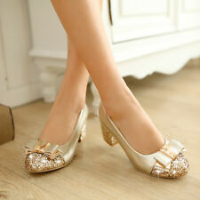 Womens high heel round toe bowknot block Mid soft comfortable Court pump Shoes