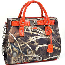 Realtree Women Camo Purse Frame Tote Camouflage Handbag with Padlock Croco Trim