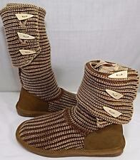 KNIT Sweater BOOTS/SLIPPERS~Bearpaw~Ankle/Mid~BROWN PURPLE Fur Footbed 6,8,9,10