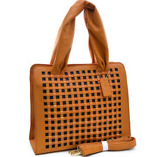 New Studded Cut-Out Womens Handbags Faux Leather Tote Bags Shoulder Bag Purse