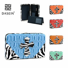 New Dasein Women Tri-fold Faux Croco Leather Wallet Zebra Rhinestone Cross Bag