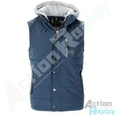 Mens Soulstar Jersey Hooded Fleece Gilet Bodywarmer Padded Sleeveless Jacket Siz