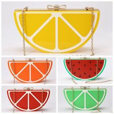 Bling Fruit Lemon Acrylic Cluth Evening Party Shoulder Handbag Purse Tote Bag