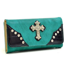 New Women Trifold Leather Wallet Bag Checkbook Card Purse Rhinestone Studs Cross